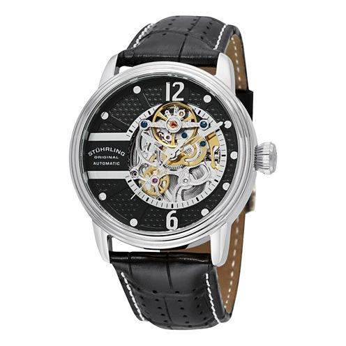 Stuhrling Mens Black Strap Watch-Sp11787