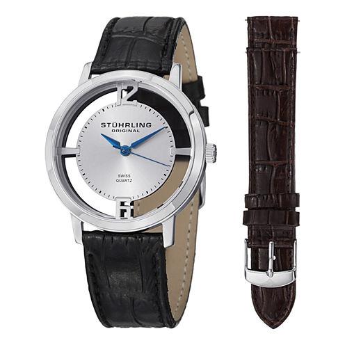 Stuhrling Mens Black Strap Watch-Sp14693