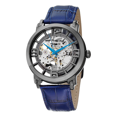 Stuhrling Mens Blue Strap Watch-Sp12897