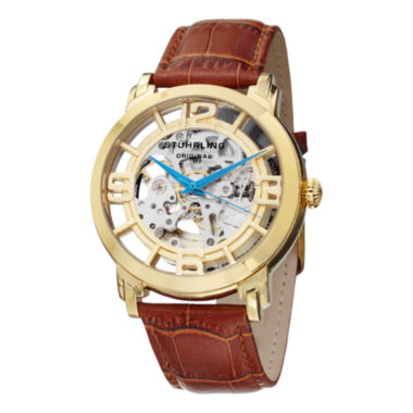 jcpenney.com | Stuhrling Mens Brown Strap Watch-Sp11335