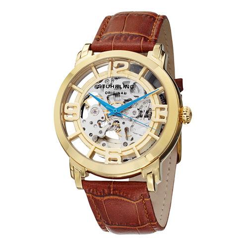 Stuhrling Mens Brown Strap Watch-Sp11335
