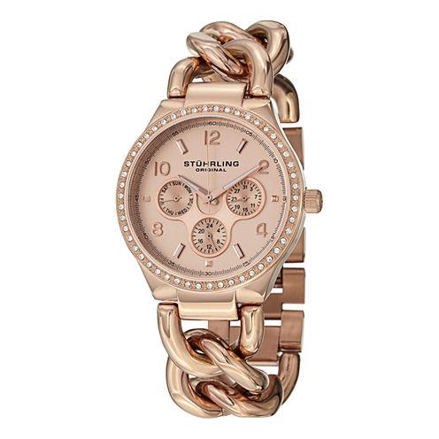 Stuhrling Womens Rose Goldtone Bracelet Watch-Sp14838