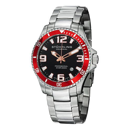 Stuhrling Mens Silver Tone Bracelet Watch-Sp12722