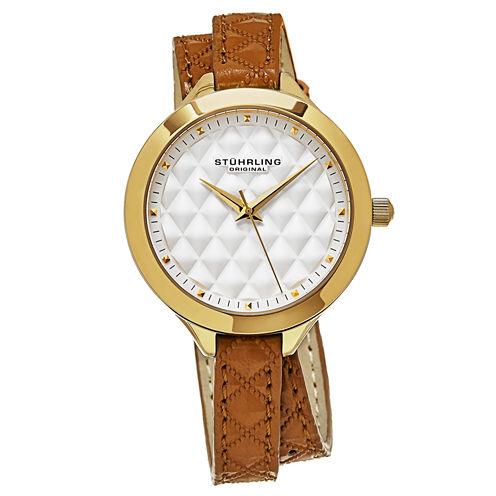 Stuhrling Womens Brown Strap Watch-Sp15669
