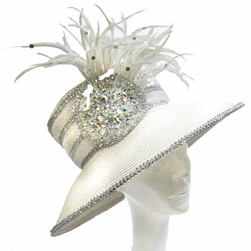 Whittall & Shon Derby Hat Lg Brim W Beaded Applique And Feathers