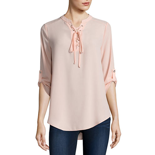 Decree Lace Up Woven Top - Juniors