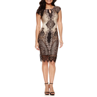 jcpenney.com | Weslee Rose Short Sleeve Embellished Sheath Dress