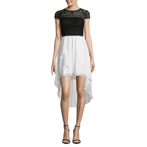 City Triangle Short Sleeve Beaded Party Dress-Juniors