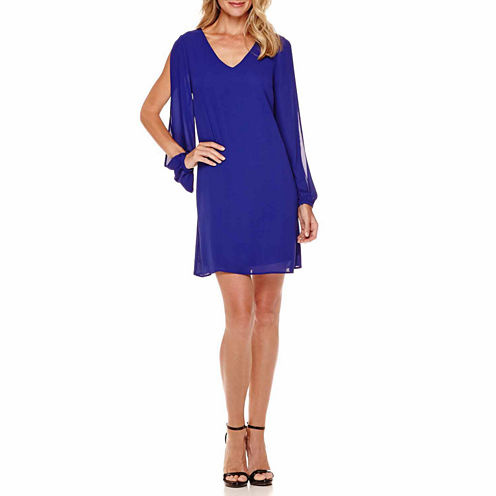 Worthington® Long Split-Sleeve Shift Dress