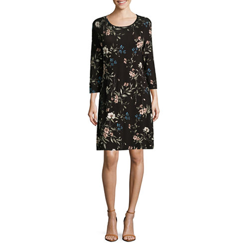 Madison Leigh Elbow Sleeve Floral Swing Dress