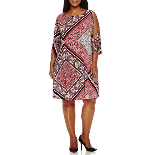 Ronni Nicole 3/4 Sleeve Cold Shoulder Knit Sheath Dress-Plus