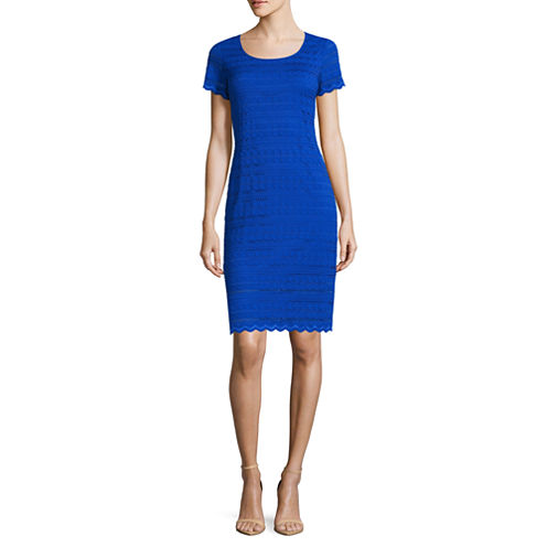 Ronni Nicole Short Sleeve Lace Sheath Dress-Petites