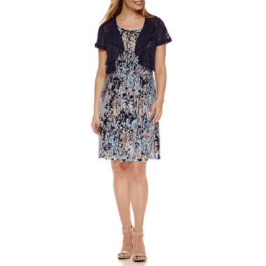 jcpenney.com | Perceptions Short Sleeve Lace Jacket Dress-Petites