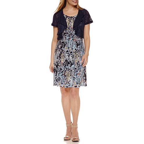 Perceptions Short Sleeve Lace Jacket Dress-Petites