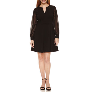 jcpenney.com | London Times Long Sleeve Fit & Flare Dress-Petites