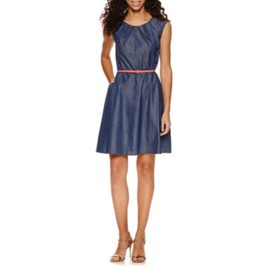 jcpenney.com | Alyx Short Sleeve Pleat Neck Belted Fit & Flare Dress-Petites