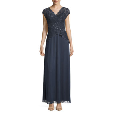 jcpenney.com | Blu Sage Short Sleeve Sequin Lace Bodice Evening Gown-Petites