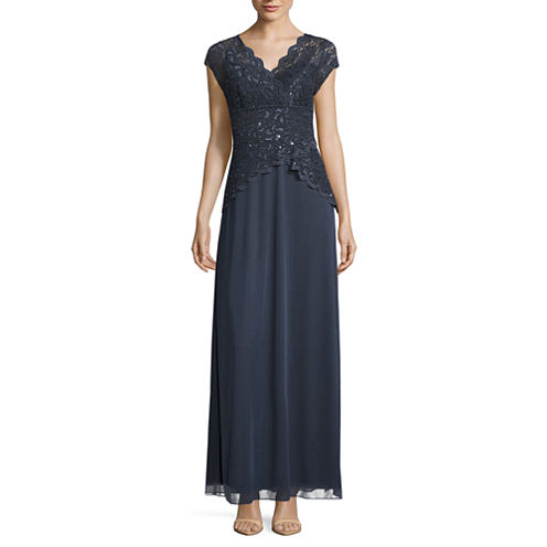Blu Sage Short Sleeve Sequin Lace Bodice Evening Gown-Petites