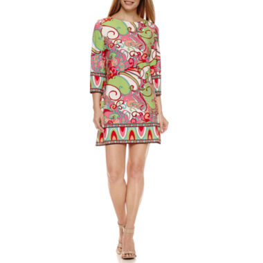 jcpenney.com | London Times 3/4 Sleeve Shift Dress-Petites