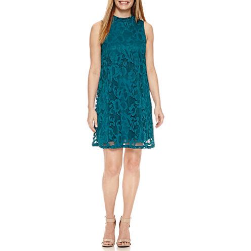 Tiana B Sleeveless Lace Mock-Neck A-Line Dress-Petites