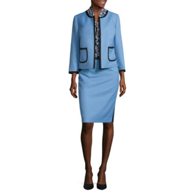 jcpenney.com | Black Label by Evan-Picone 3/4 Sleeve Contrast Trim Jacket with Sleeveless Print Bow Blouse and Contrast Trim Pencil Skirt