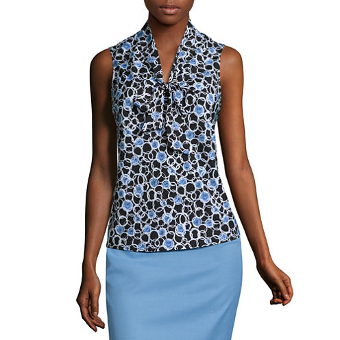 Black Label by Evan-Picone Sleeveless Printed Bow Blouse