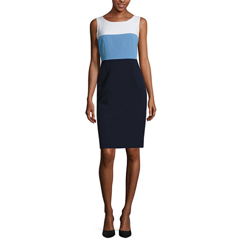 Black Label by Evan-Picone Sleeveless Colorblock Sheath