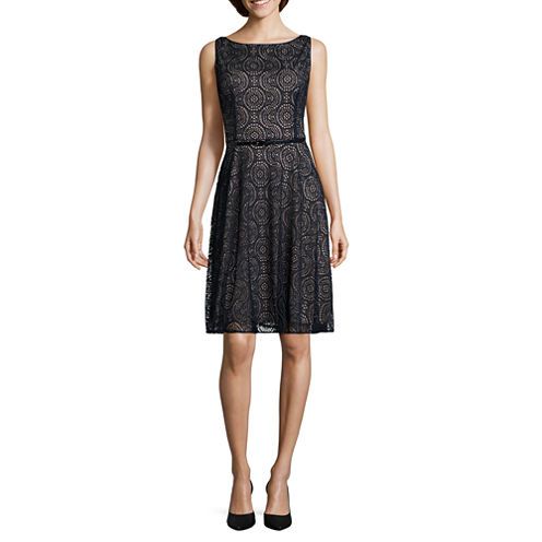 Black Label by Evan-Picone Sleeveless Lace Belted Fit & Flare