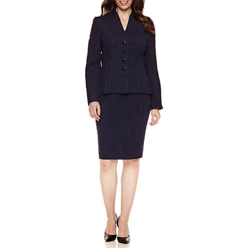 Le Suit Long Sleeve 4-Button Skirt Suit