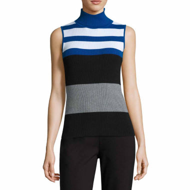 jcpenney.com | Liz Claiborne Sleeveless Sleeveless Ribbed Turtleneck Sweater-Talls