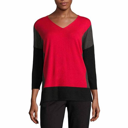 Liz Claiborne Boxy V Neck Pullover Sweater-Talls