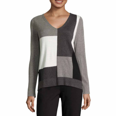 jcpenney.com | Liz Claiborne Patchwork V Neck Pullover Sweater-Talls