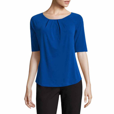 jcpenney.com | Liz Claiborne Elbow Sleeve Crew Neck Knit Blouse-Talls