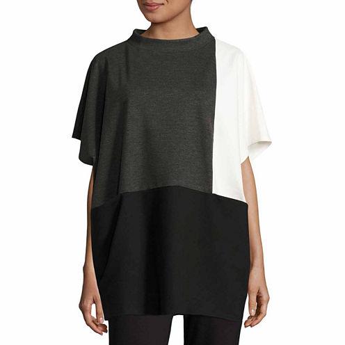 Liz Claiborne Short Sleeve Mock Neck Knit Blouse-Talls