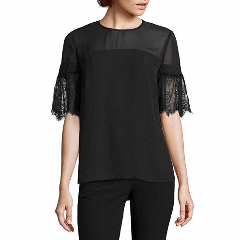 Worthington Short Sleeve Lace Bell Sleeve Blouse-Talls