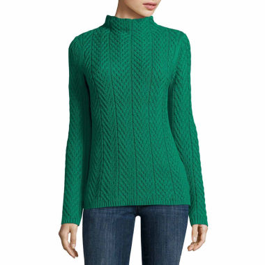 jcpenney.com | Liz Claiborne Cable Boxy Mockneck Sweater-Talls
