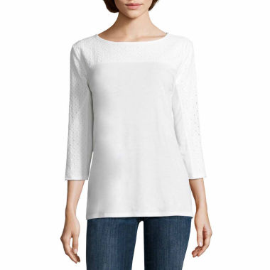 jcpenney.com | Liz Claiborne 3/4 Sleeve Eyelet Trim Top -Talls