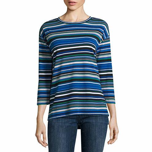 Liz Claiborne 3/4 Sleeve Striped Tee-Talls