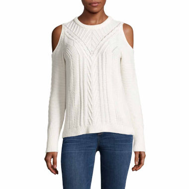 jcpenney.com | A.N.A Cold Shoulder Cable Sweater-Talls