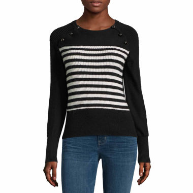 jcpenney.com | A.N.A Stripe Sweater With Dome Buttons-Talls