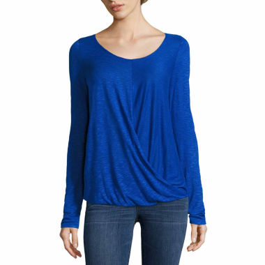 jcpenney.com | A.N.A Long Sleeve Drape Front Tee-Talls