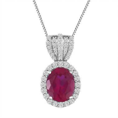 jcpenney.com | Womens Red Lab Created Ruby Pendant Necklace in Sterling Silver