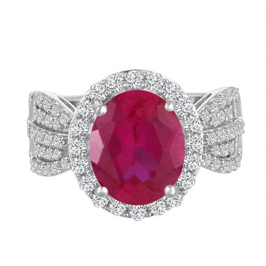 jcpenney.com | Womens Red Lab-Created  Ruby Cocktail Ring in Sterling Silver