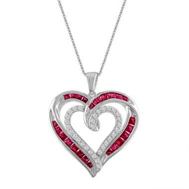 jcpenney.com | Lab-Created Ruby & White Sapphire Sterling Silver Heart Pendant Necklace