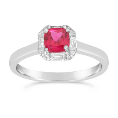 jcpenney.com | Womens Lab Created Red Ruby Solitare Ring in Sterling Silver