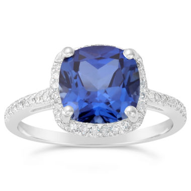 jcpenney.com | Womens Diamond Accent Blue Sapphire Sterling Silver Halo Ring