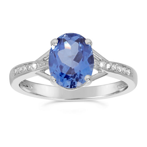Womens Diamond Accent Blue Sapphire Sterling Silver Halo Ring