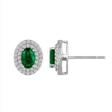 jcpenney.com | Oval Green Emerald Sterling Silver Stud Earrings