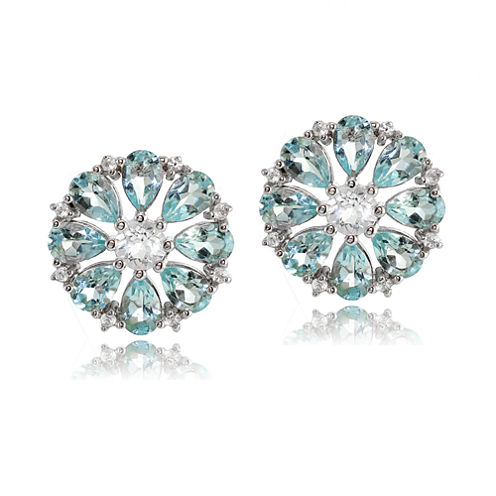 Fine Jewelery Pear Blue Topaz Sterling Silver Stud Earrings