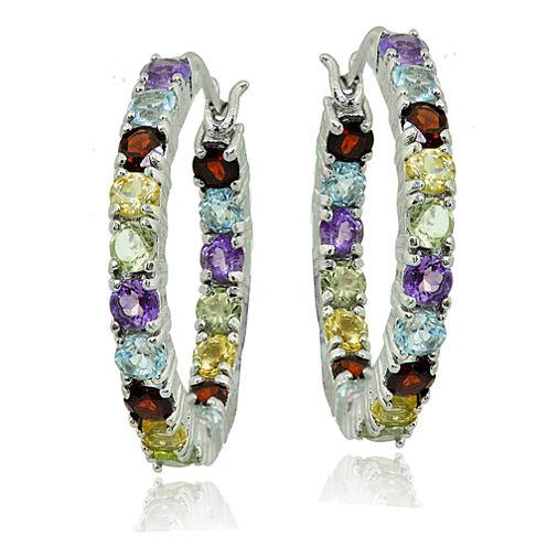 Geuine Multi-Gemstone Sterling Silver Hoop Earrings